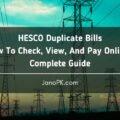 HESCO Bill Online - How To Check Duplicate HESCO Bill?